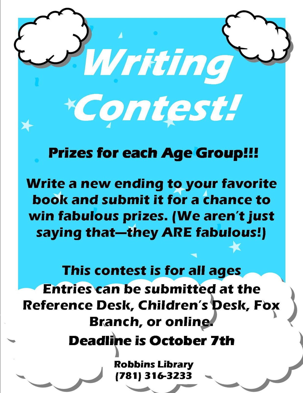 Robbins Library  TEENS Deadline Change On Writing Contest Writing Contest Fault Deadline Change On Writing Contest