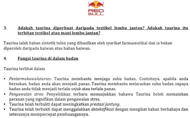 Red Bull Jawap Isu Taurine