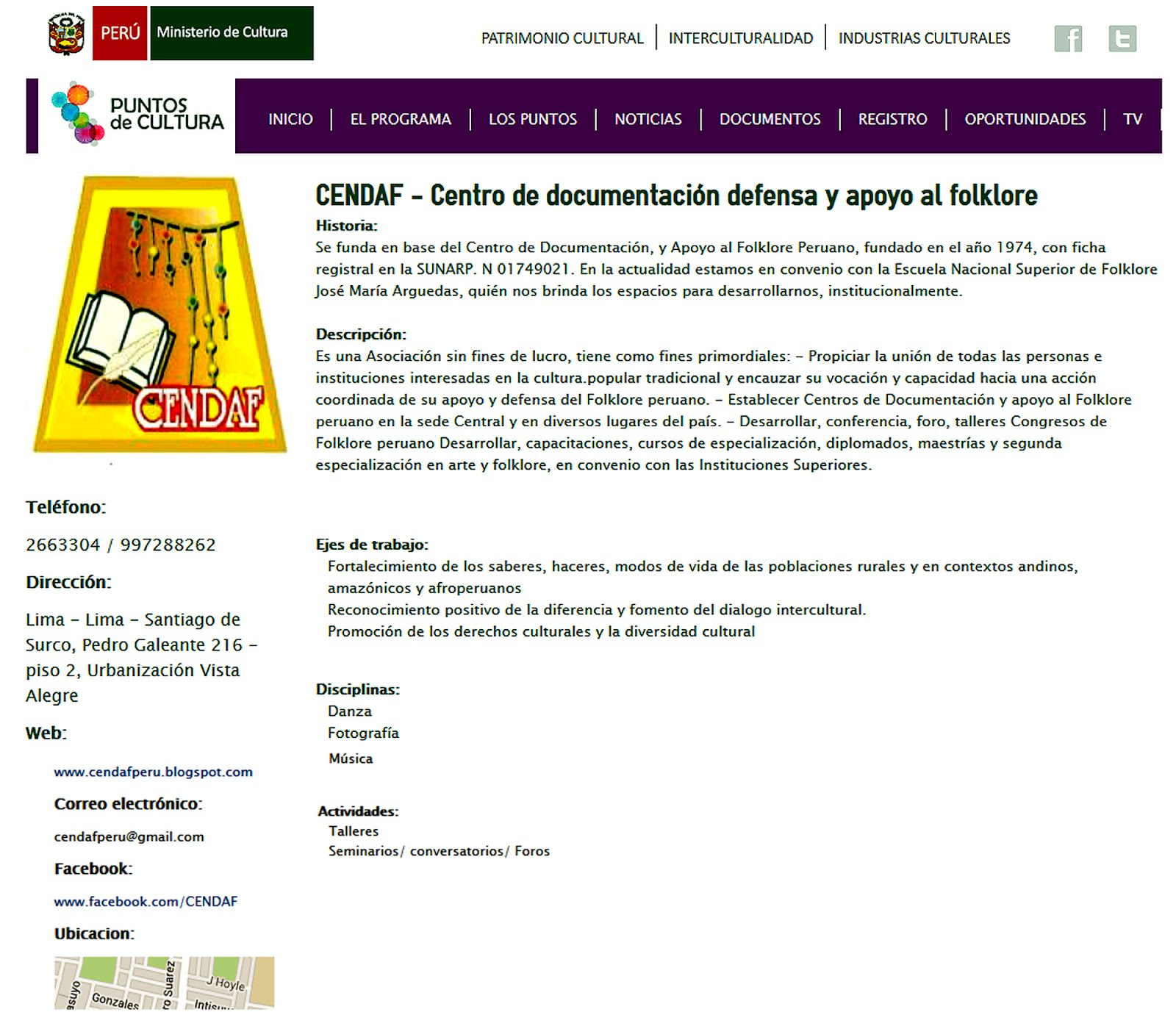 PUNTOS DE CULTURA DEL MINISTERIO DE CULTURA PERU