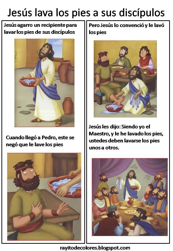 Jesús lava los pies a sus discípulos