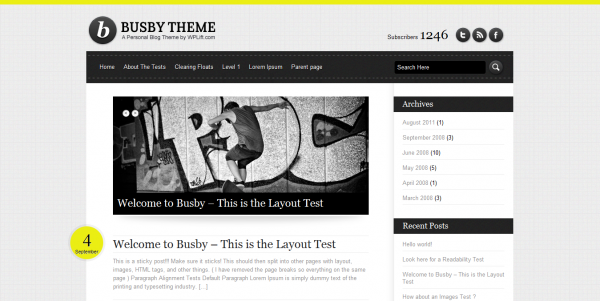 Busby Free WordPress Theme1 600x301 16 Best 2012 Free WordPress Themes
