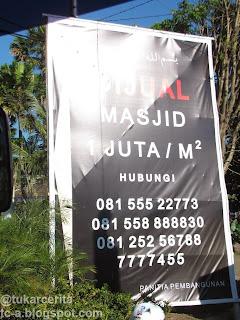 Masjid Dijual 1 Juta/M²