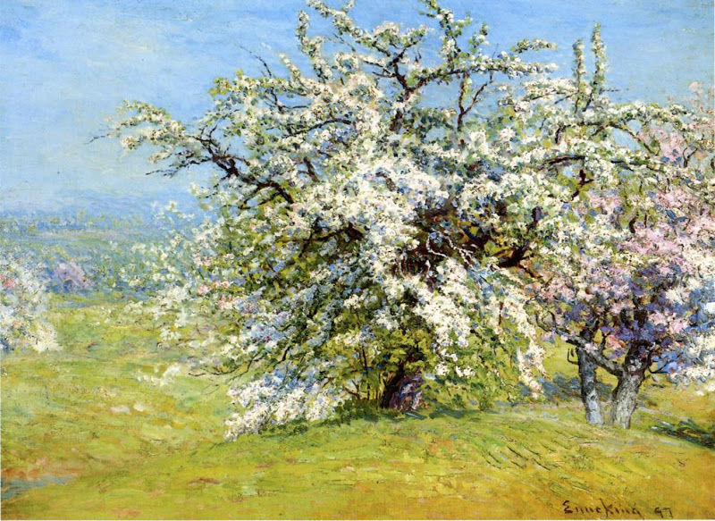 Paintings Of Spring John Joseph Enneking Blooming Meadows