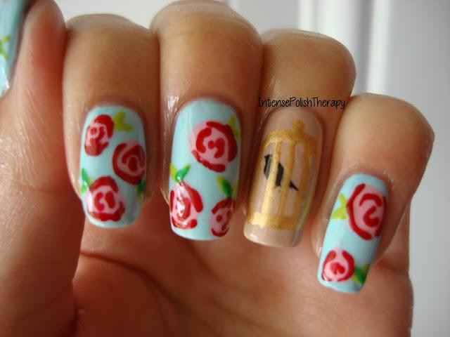 Floral Bird Nail Art