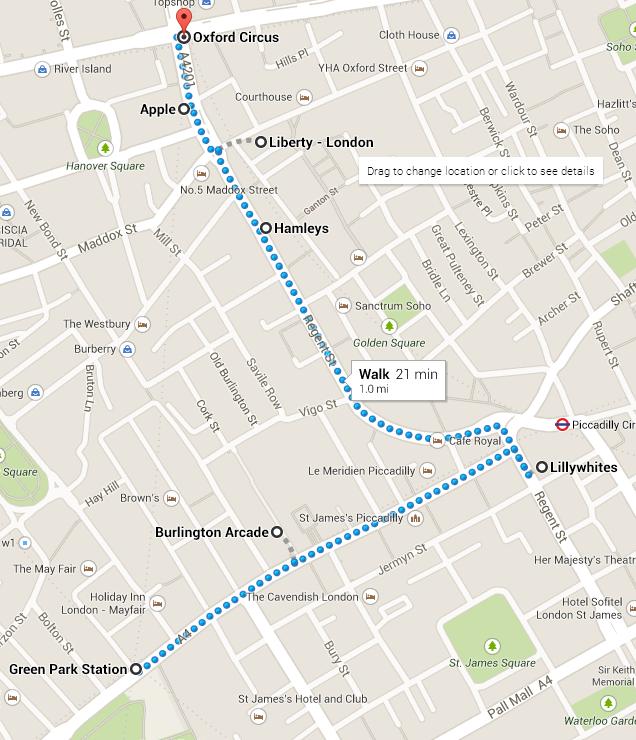 Walking Map of Regent Street, London