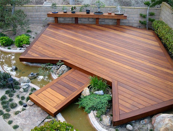 outdoor wooden floors with small landscape | Vietnam Outdoor Furniture