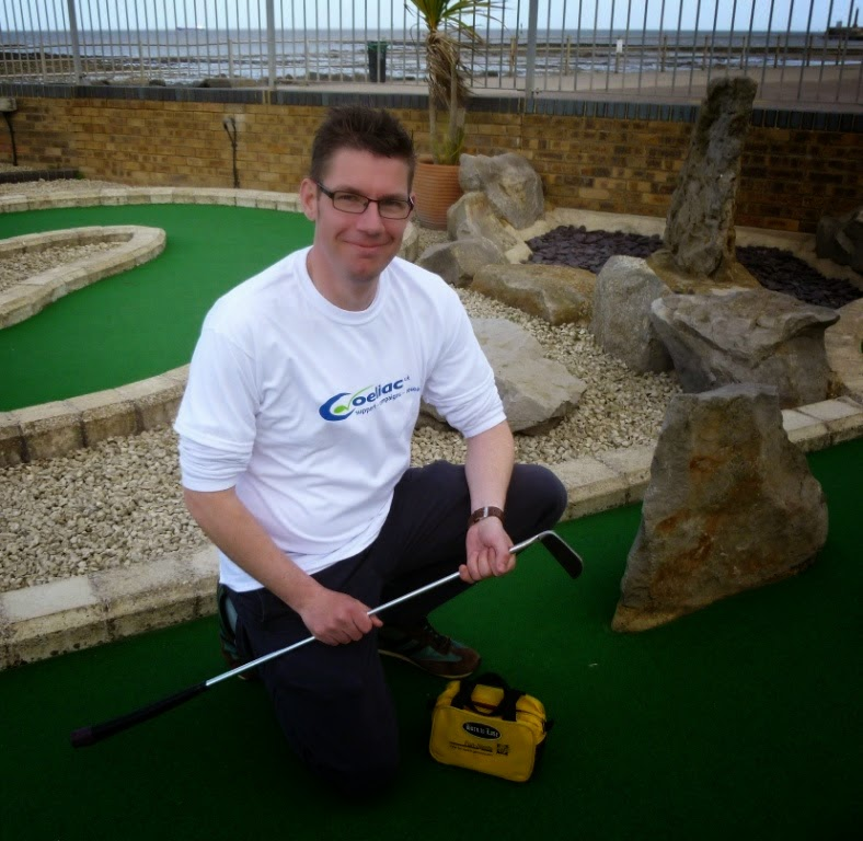 Minigolfer, Blogger and Coeliac 'Squire' Richard Gottfried at Strokes Adventure Golf course in Margate