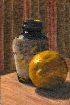 Oil painting of a lemon beside a small Chinese-style blue and white vase.