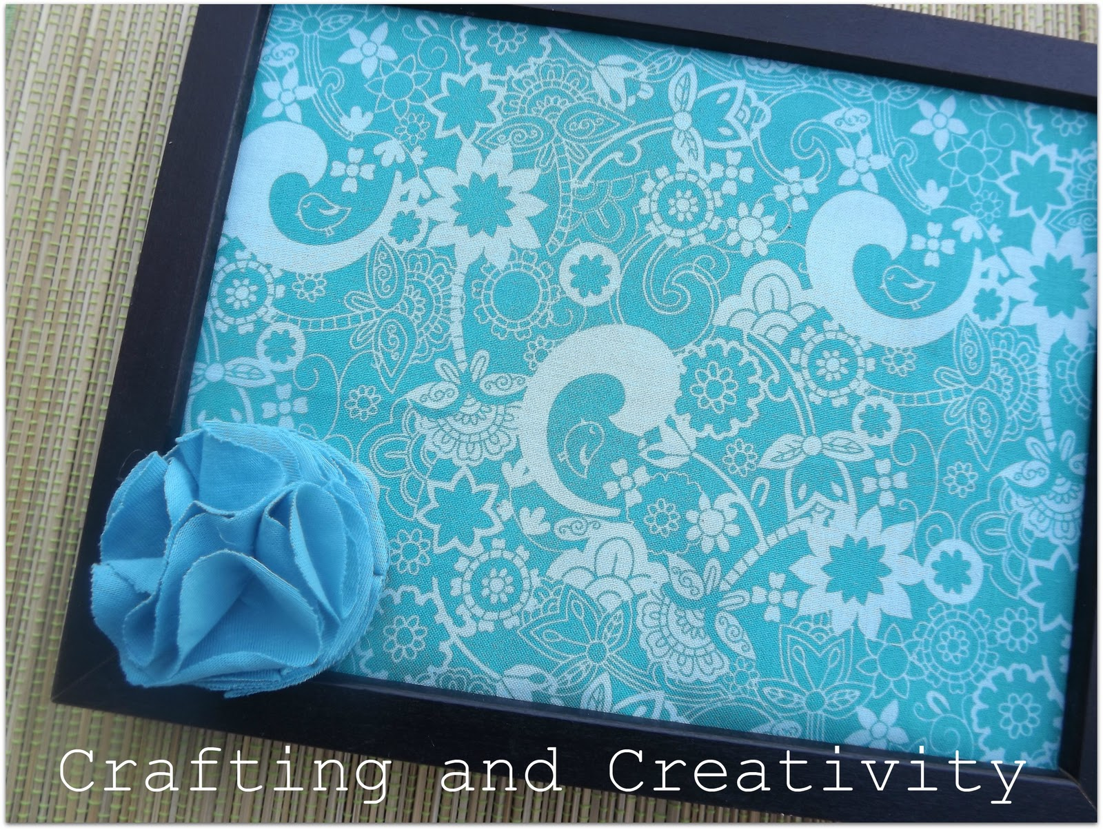 Crafting and creativity diy fabric covered bulletin board for Diy fabric picture frame