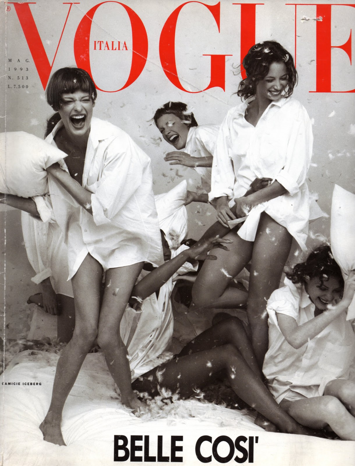 Nadja Auermann, Tatiana von Furstenberg and Lucie de la Falaise photographed by Steven Meisel for Vogue Italia May 1993 / white shirt in fashion editorials / short history of white shirt / wardrobe essentials / via fashioned by love british fashion blog