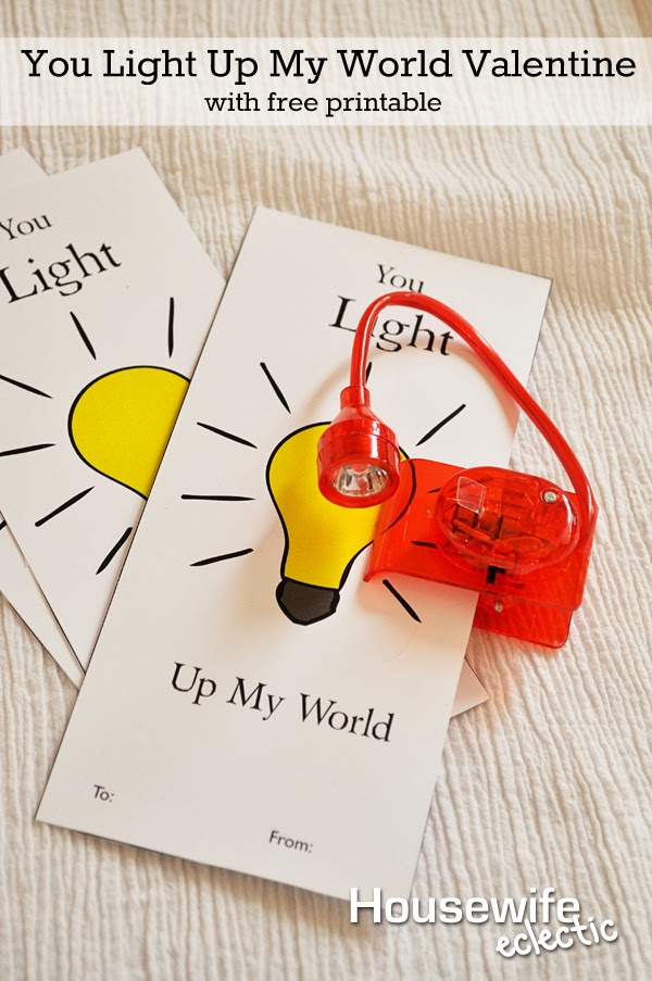 Housewife Eclectic: You Light Up My World Valentine with Free Printable
