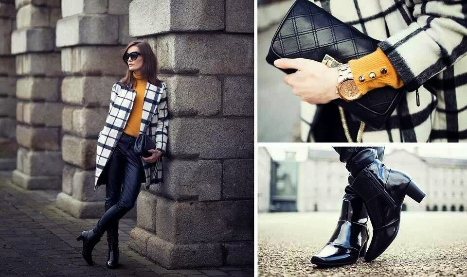 Modern Checkered Coat and Patent Leather Shoes with Yellow Sweater