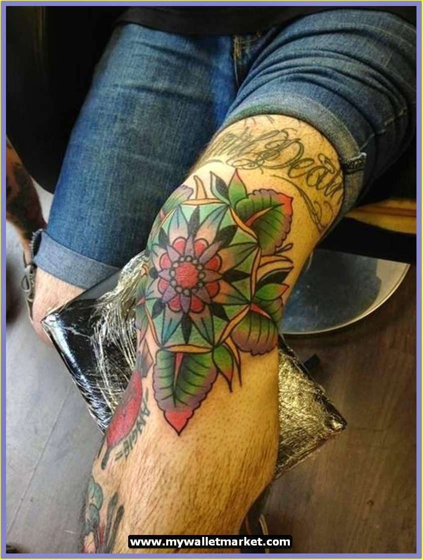Peacock flower tattoo designs - Amazing Knee Tattoo Design Ideas Green Flower