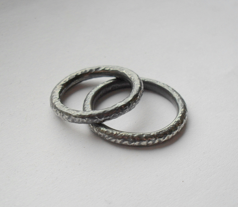 His Hers Sterling Silver Textured Wedding Rings Oxidised Finish