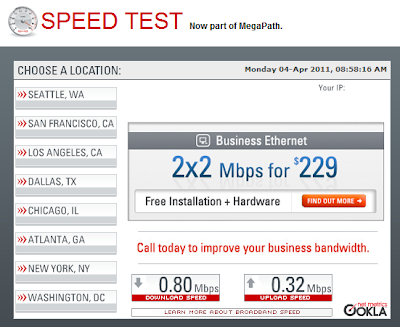 Speakeasy speedtest results: .8Mbps download .3 Mbps upload