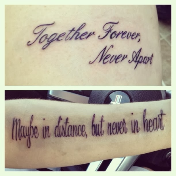 Distance apart quotes quotesgram for Together forever tattoo