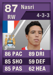 Samir Nasri (IF1) 87 Purple iMOTM - FIFA 12 Ultimate Team Card