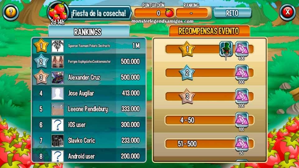 imagen del ranking mundial de la fiesta de la cosecha de monster legends