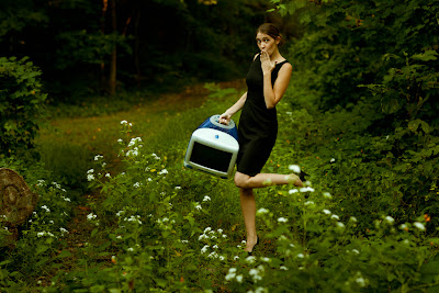 woman running with computer