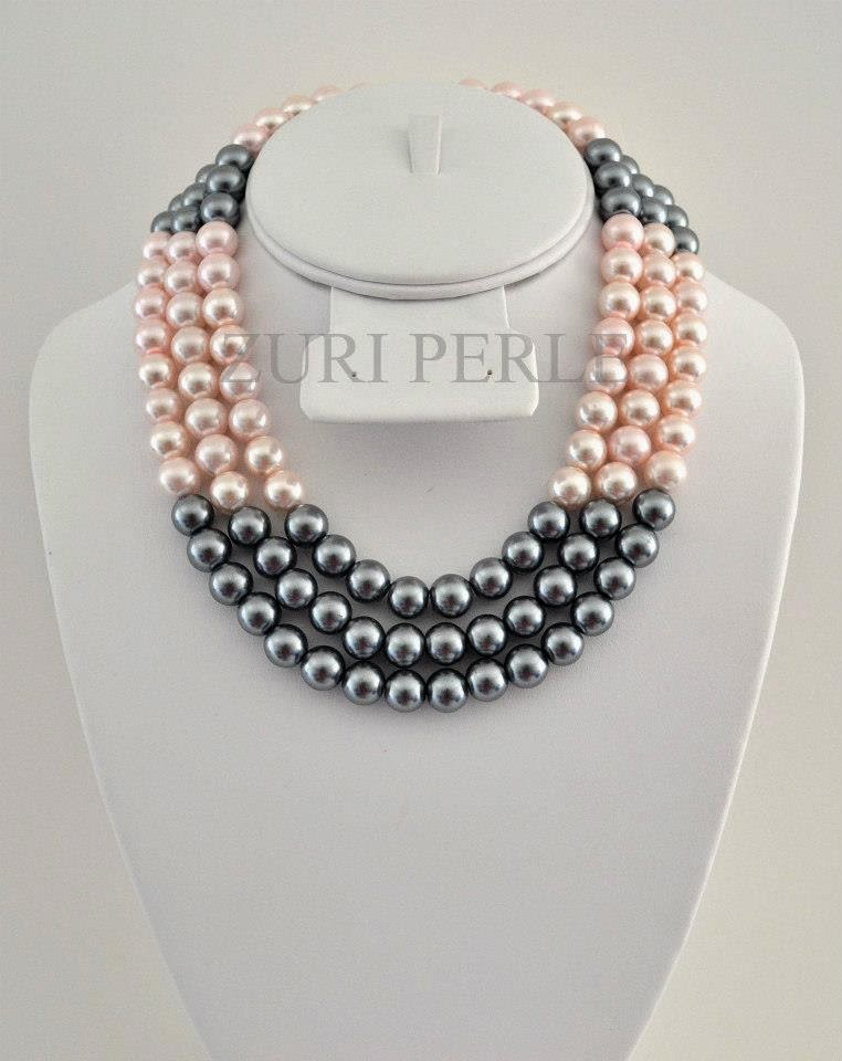 Pink and grey pearls Zuri Perle Necklace Earrings Bracelet