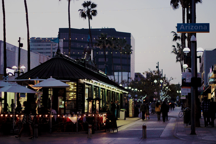 Santa Monica 3rd street promenade at night