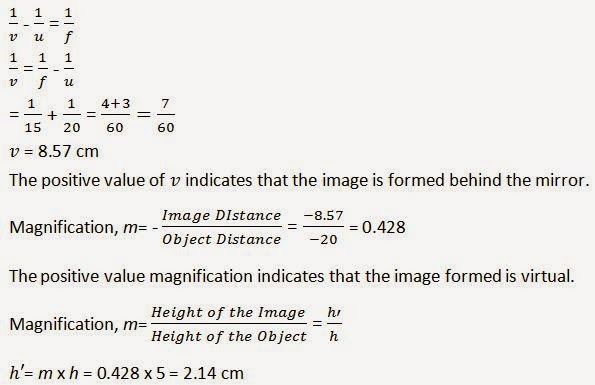 Ncert solutions for class 10th ch 10 light reflection for Mirror formula