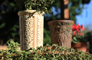 Weller Clinton Ivory, Peters and Reed Moss Aztec Vases and Dryopteris