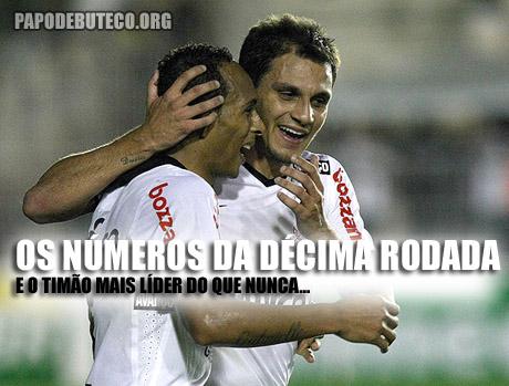 Os números completos da décima rodada e a liderança isolada do Corinthians