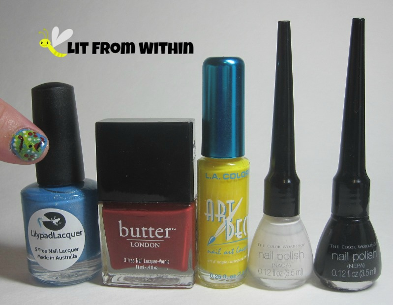 Bottle shot:  Lilypad Lacquer Sherbet, Butter London Old Blighty, and nail art stripers in yellow, white, and black