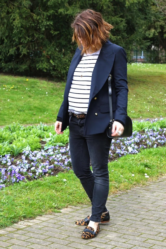 blazer marine, marinière, clippers, léopard, sezane, half moon bag, apc, pretty wire, juste juliette, fashion blogger, blog mode lille, baby bump, style the bump