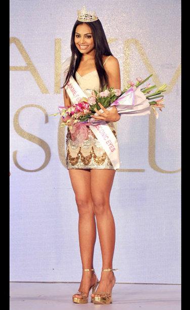Swati Kain, winner of Lakme Femina Miss Eyeconic Eyes and Femina Miss Iron Maiden 2013 Sub-Title during the Ponds Femina Miss India 2013 beauty pageant held at Yash Raj Studios in Mumbai on March 24, 2013.