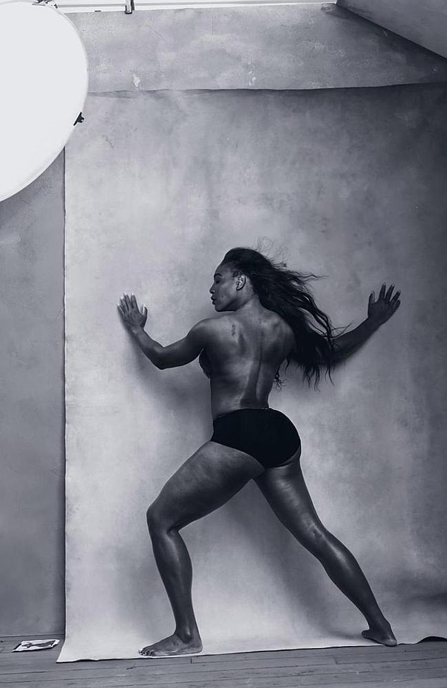 Incredible physique ... tennis star Serena Williams stripped down for the 2016 Pirelli CaSource:Supplied