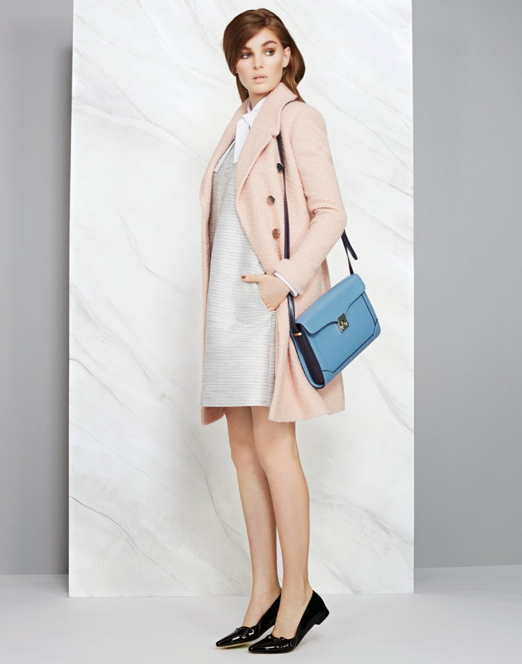 MARKS AND SPENCER LIMITED EDITION COAT £89, LIMITED EDITION TOP £29.50, LIMITED EDITION DRESS £45, BAG £29.50, SHOE £25