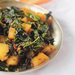 South Indian Wild Greens of Monsoon in a Stir Fry with Fresh Spices