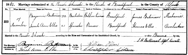 Marriage certificate for Benjamin Batemand and Sarah Ann Ellis in the Parish Church Bradford on 17 Nov 1863.