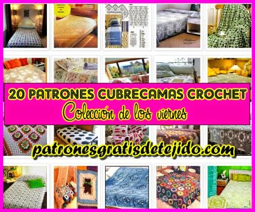 20 diagramas de patrones ganchillo para tejer mantas y cubrecamas