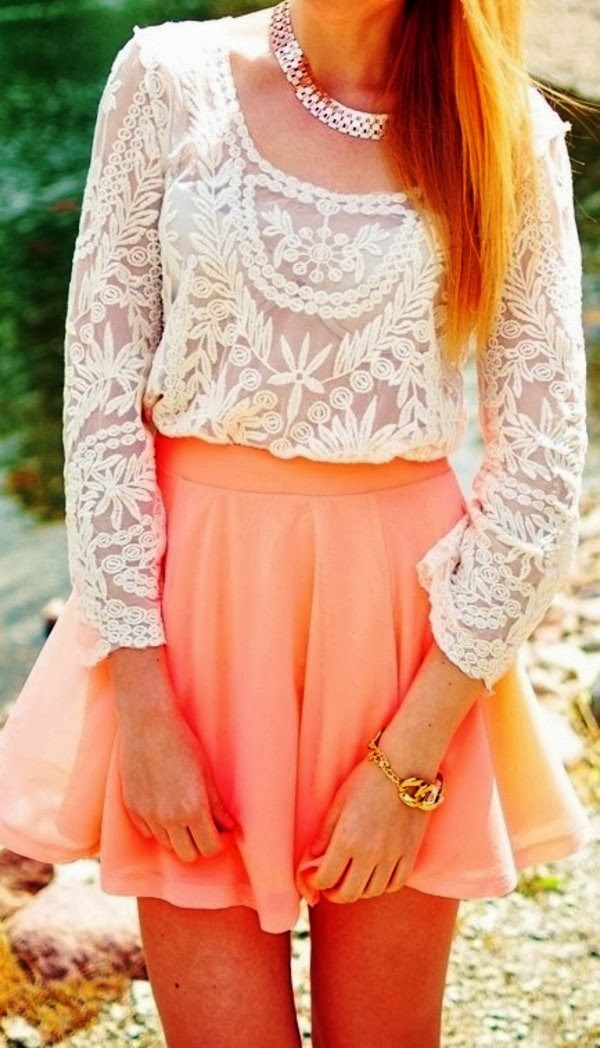 Peach skater skirt outfit and lace combination