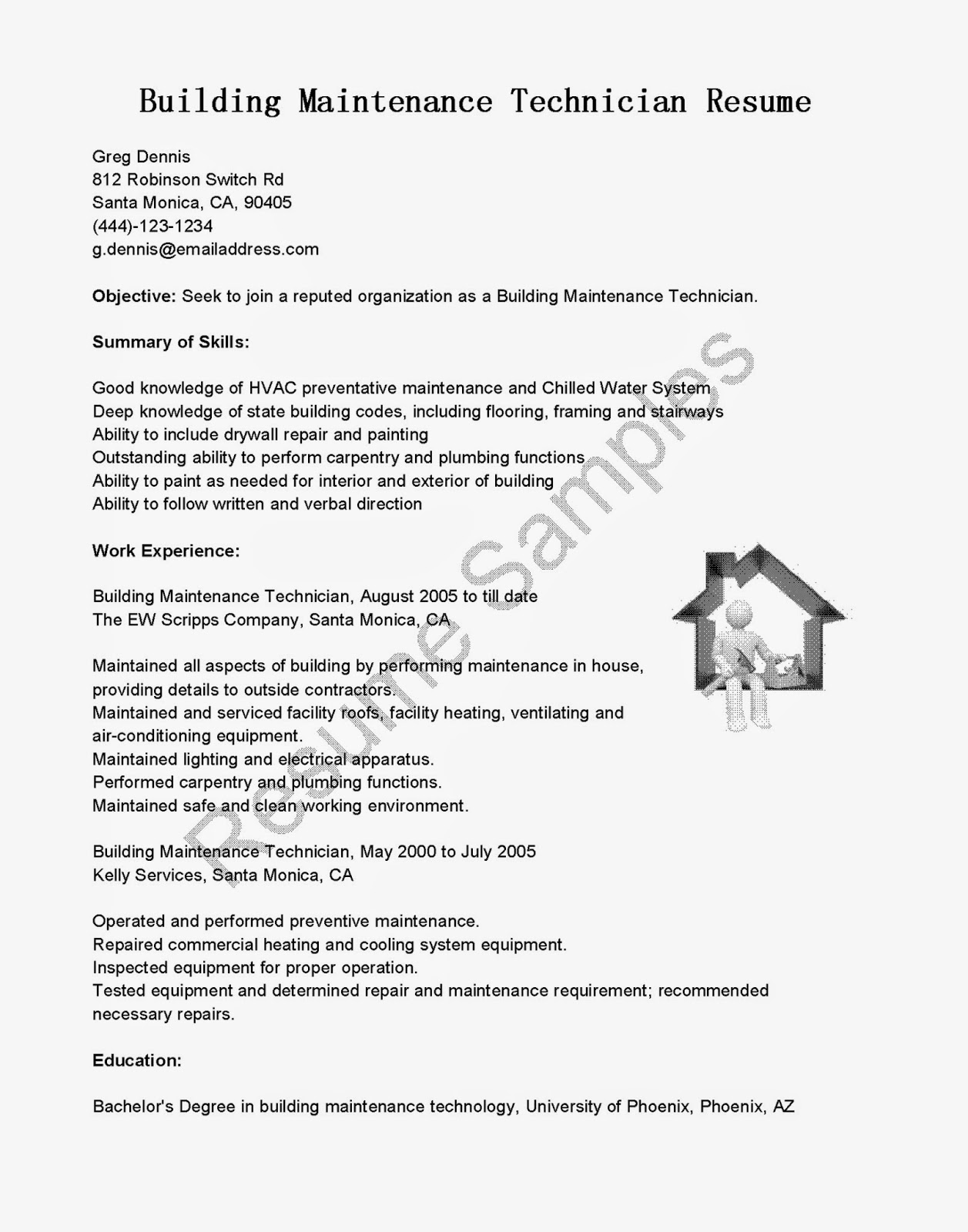 resume samples  building maintenance technician resume sample