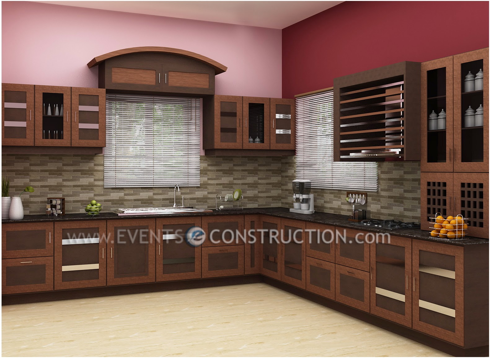 Bon Great Kitchen Interior Design With Wooden Cabinets With Kerala Kitchen  Interior Design
