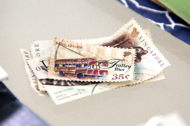 Singaporean stamps for upcycling projects