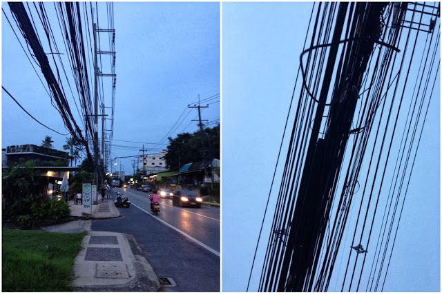 low-hanging electric wires, Phuket