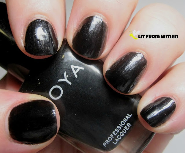 Zoya Raven.  It's the closest thing to pure black that Zoya has at the moment.