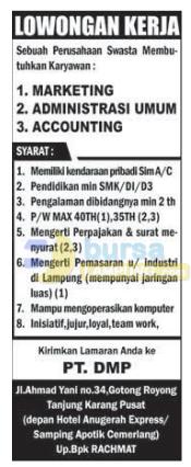 Lowongan Kerja Lampung PT. DMP