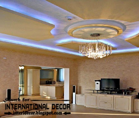 modern luxury pop false ceiling designs ideas 2015 for living room with Led lighting