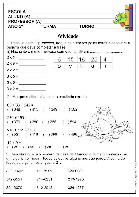 Atividade Matemática 5º Ano Operações