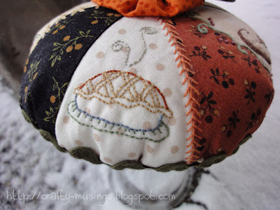 Pumpkin Pie Pincushion, side view 1