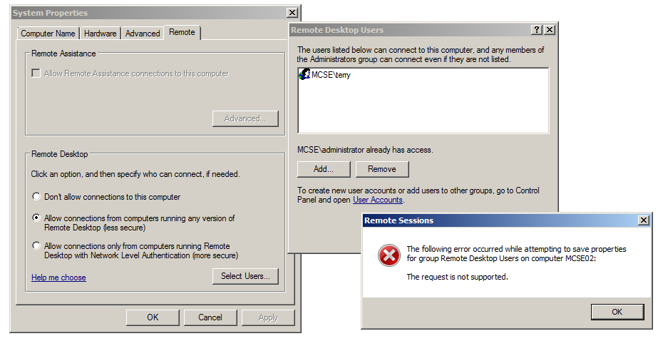 When adding RDP users to a read only domain controller you receive