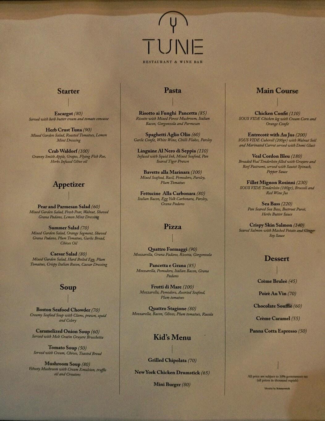 Tune Restaurant & Wine Bar Surabaya (Review) | Laura Angelia\'s