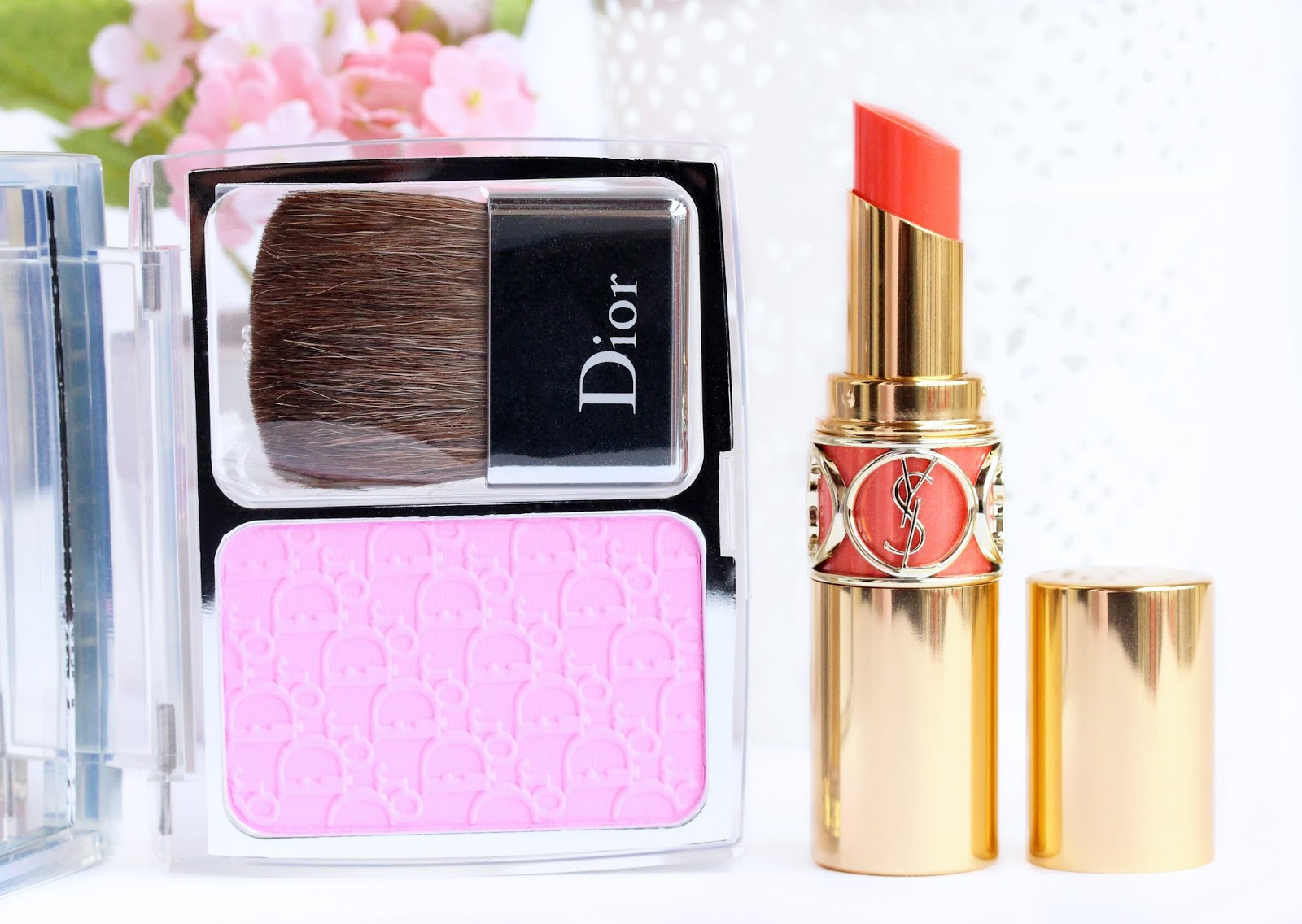 Dior Rosy Glow blush and YSL Rouge Volupte Shine in #14