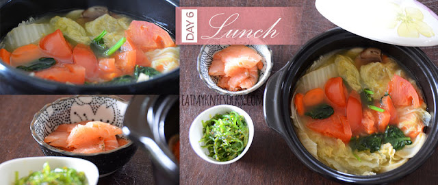 NutriClean Detox Diet day 6 lunch: mixed vegetable stew, seaweed salad, and smoked salmon.